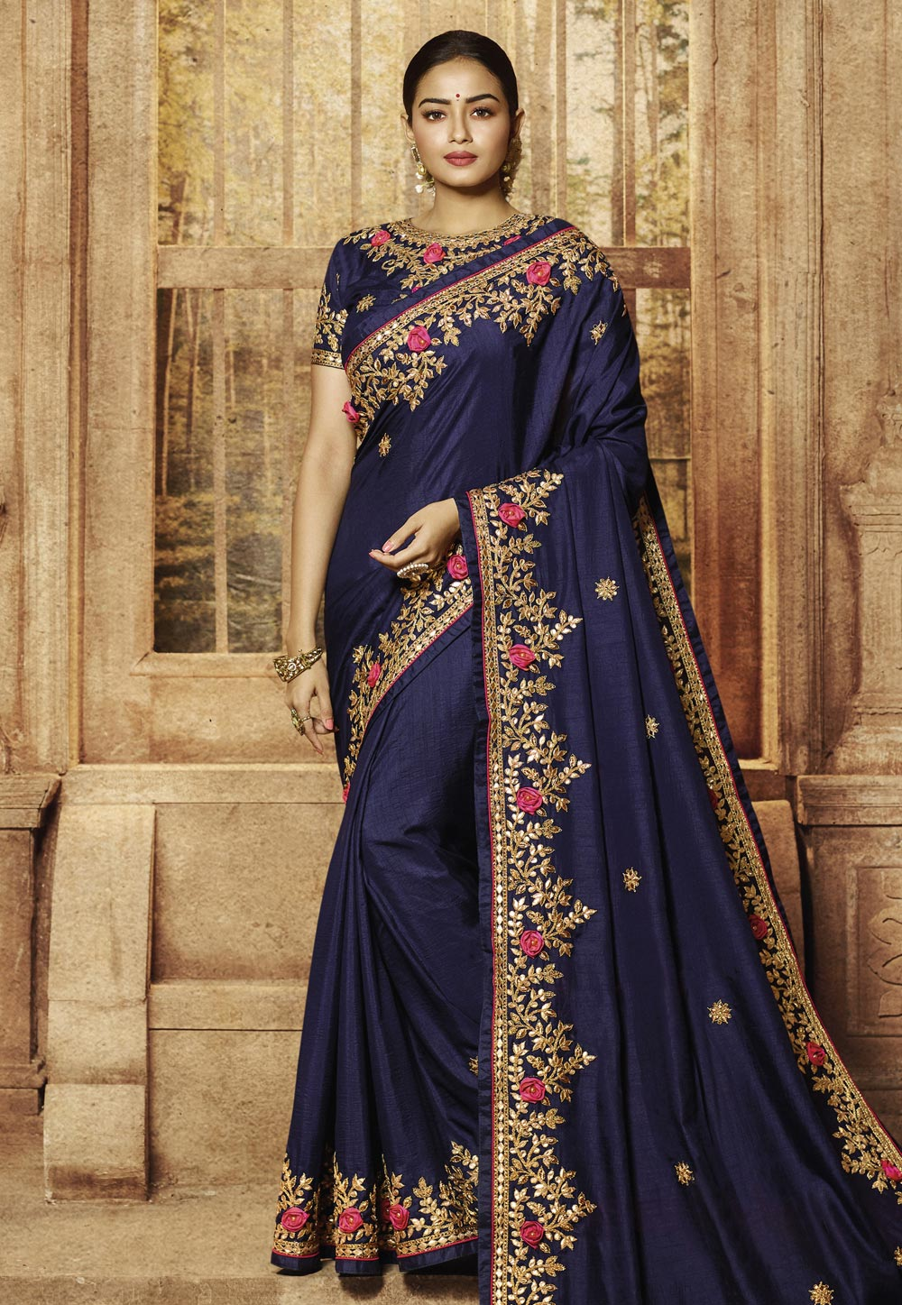 Navy Blue Silk Party Wear Saree 195774