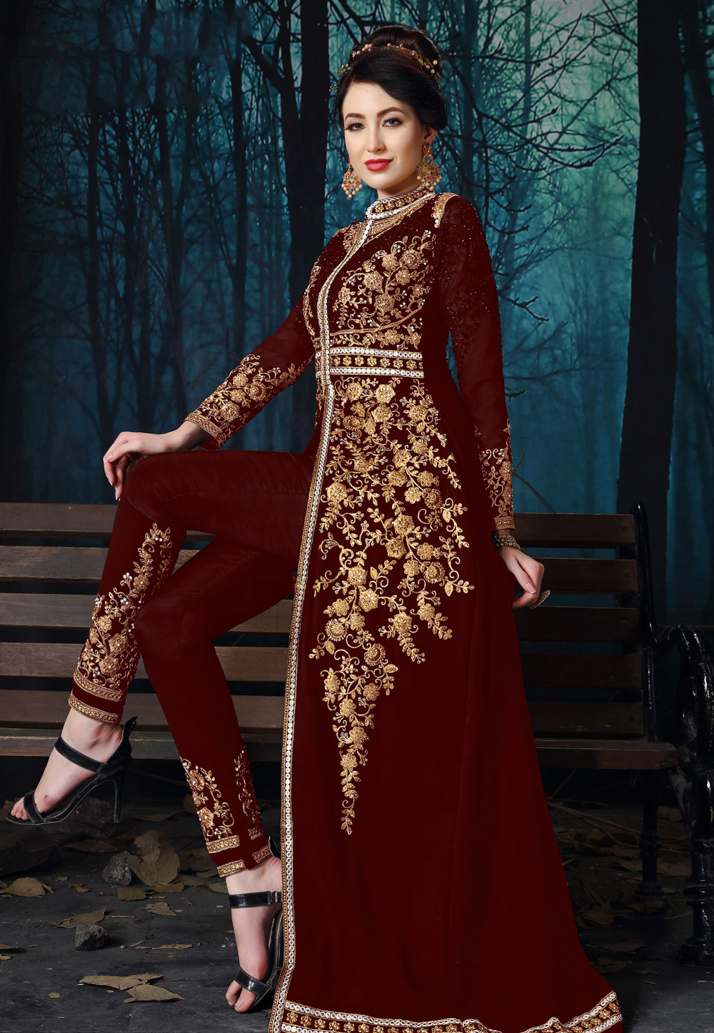 Maroon Georgette Embroidered Long Anarkali Suit 195370