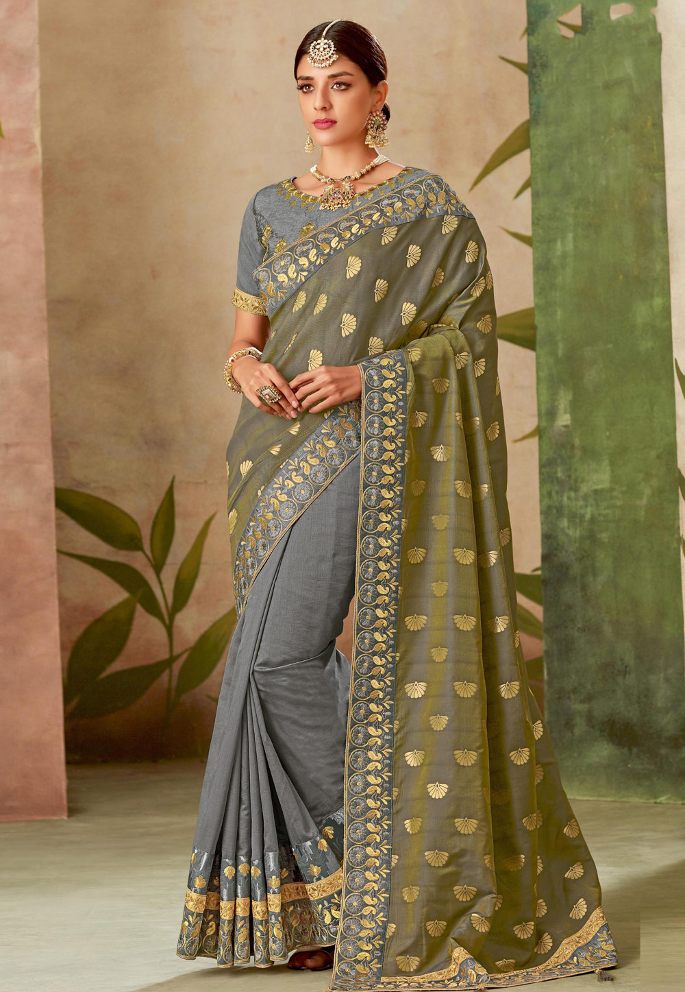 Grey Silk Half and Half Saree 162483