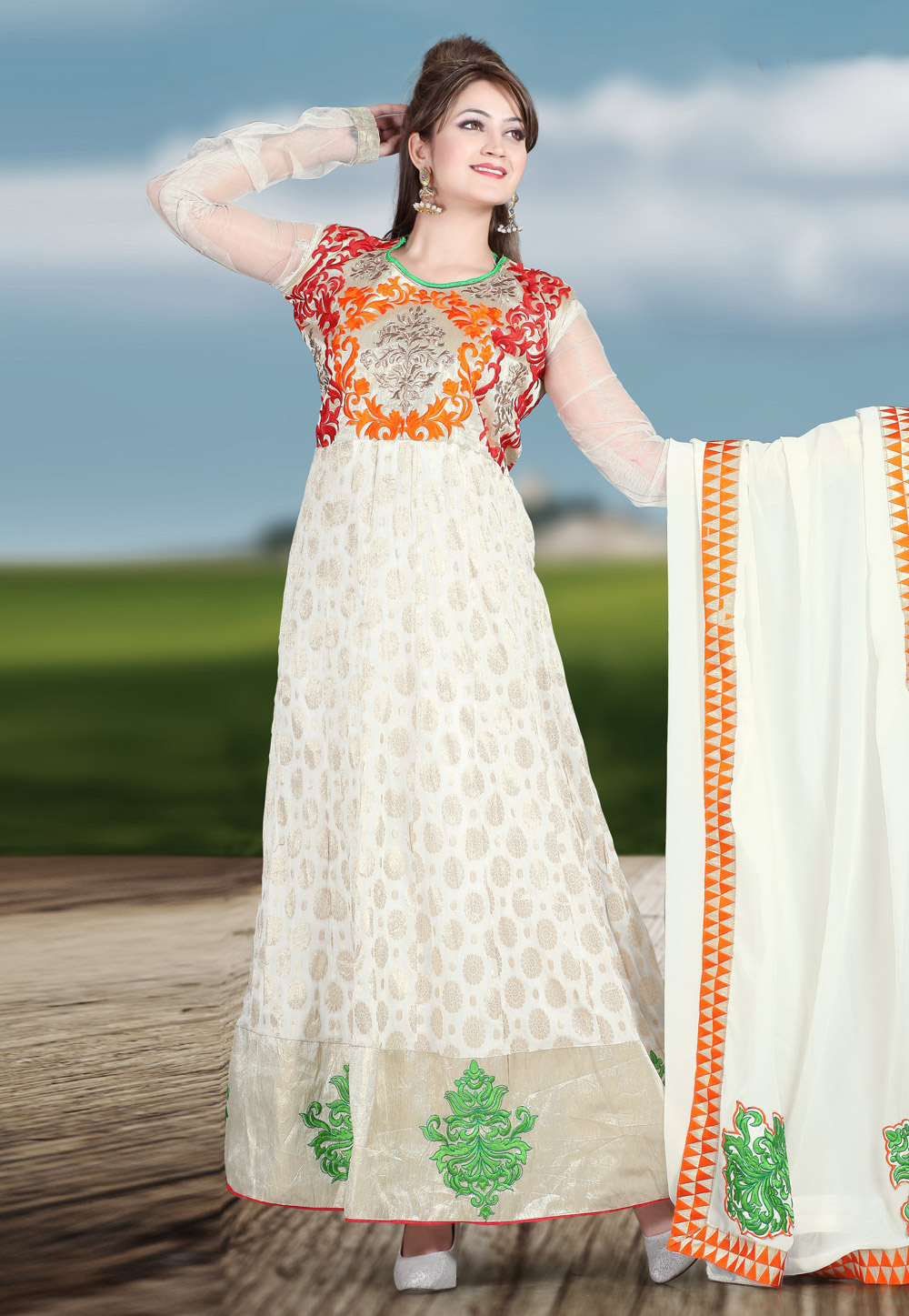 Off White Faux Georgette Embroidered Ankle Length Anarkali Suit 68755