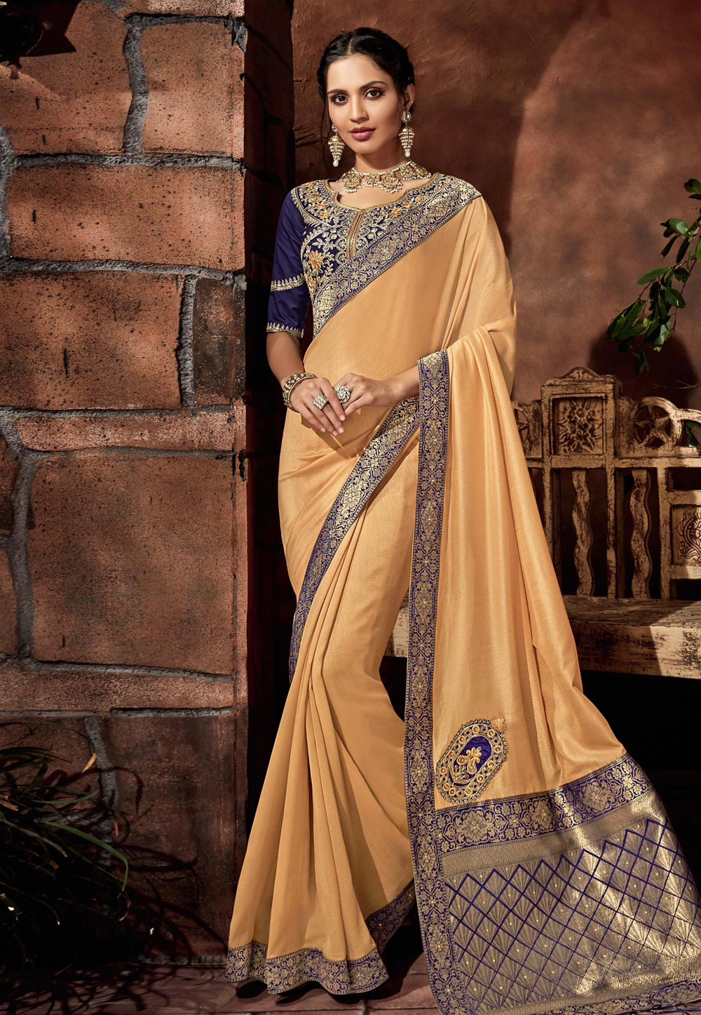 Beige Satin Festival Wear Saree 179157