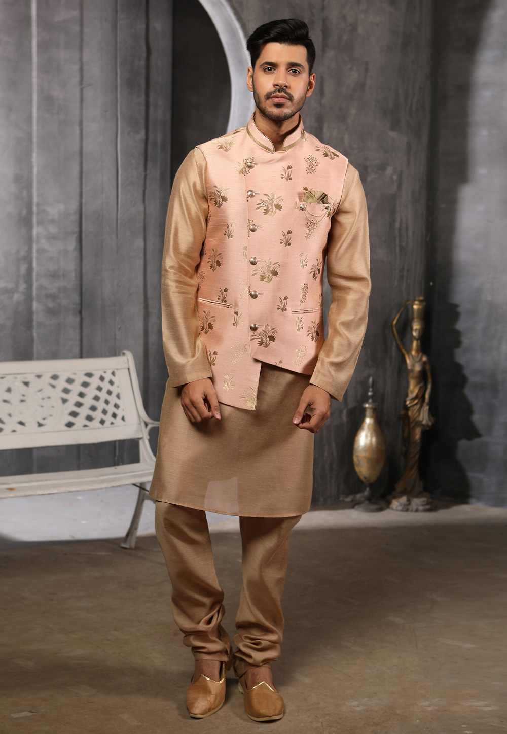 Golden Jacquard Readymade Kurta Pajama With Jacket 186554