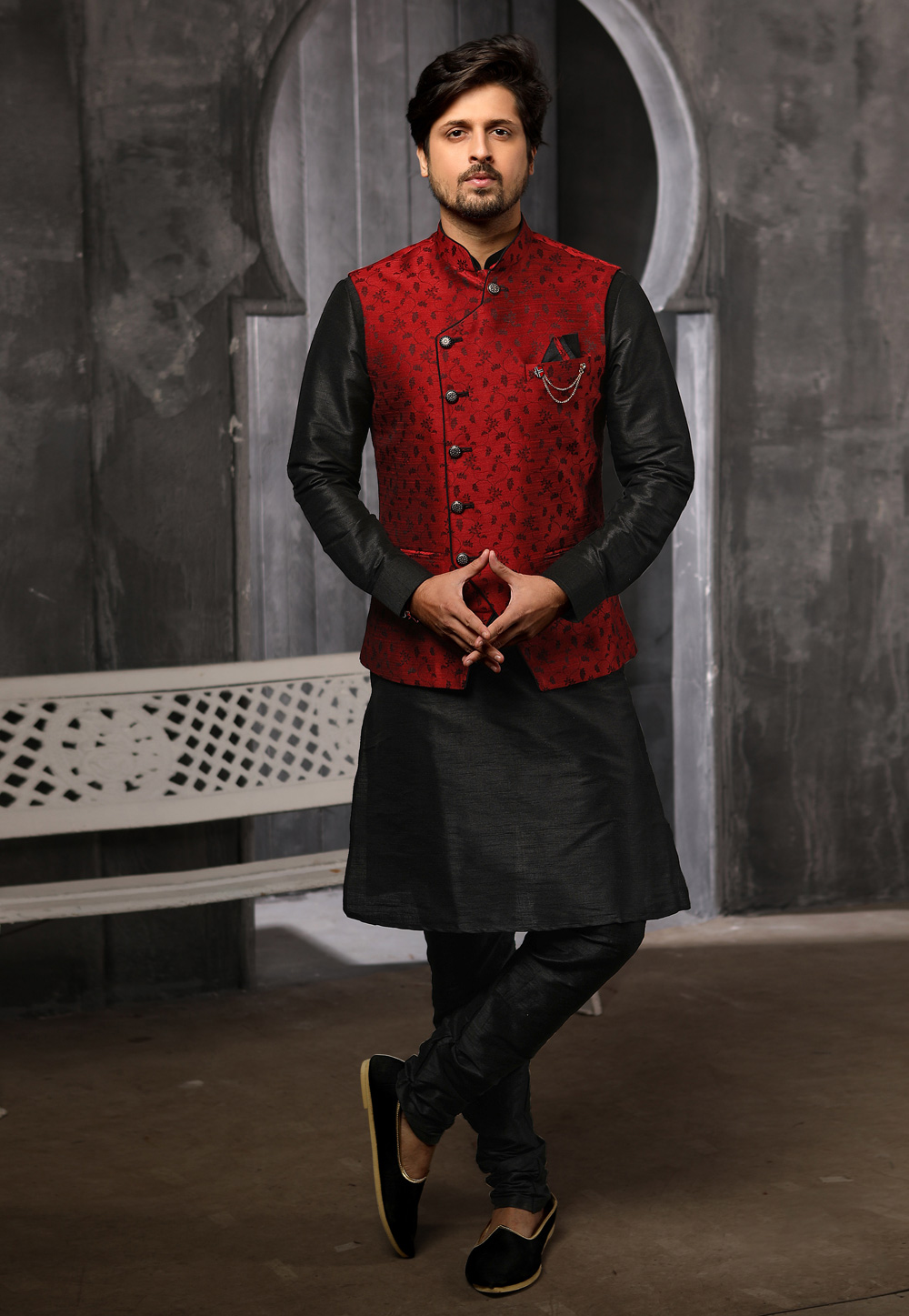 Black Jacquard Readymade Kurta Pajama With Jacket 186558