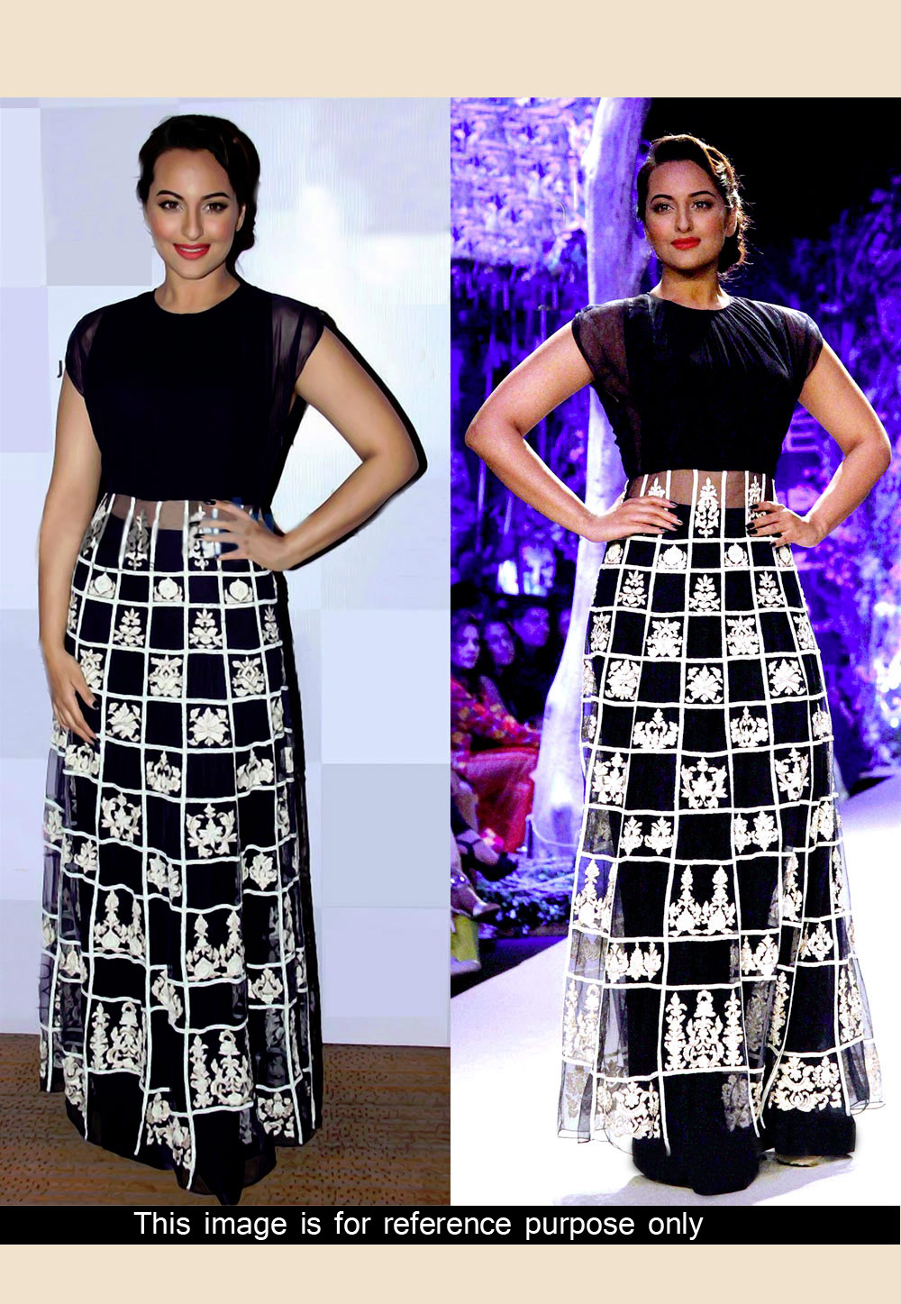 Sonakshi Sinha Black Net Embroidered Party Wear Gown 36188