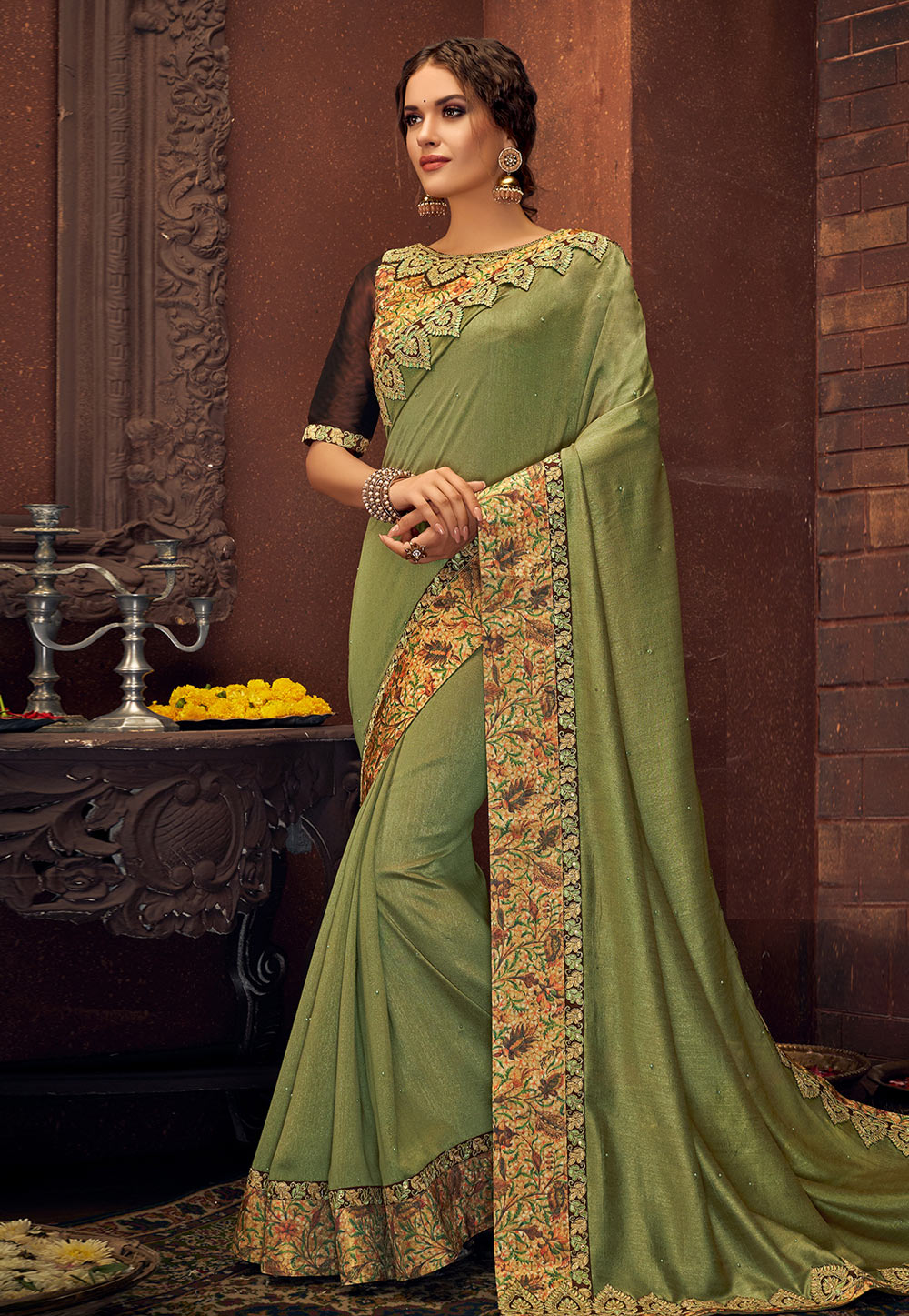 Green Silk Festival Wear Saree 189185