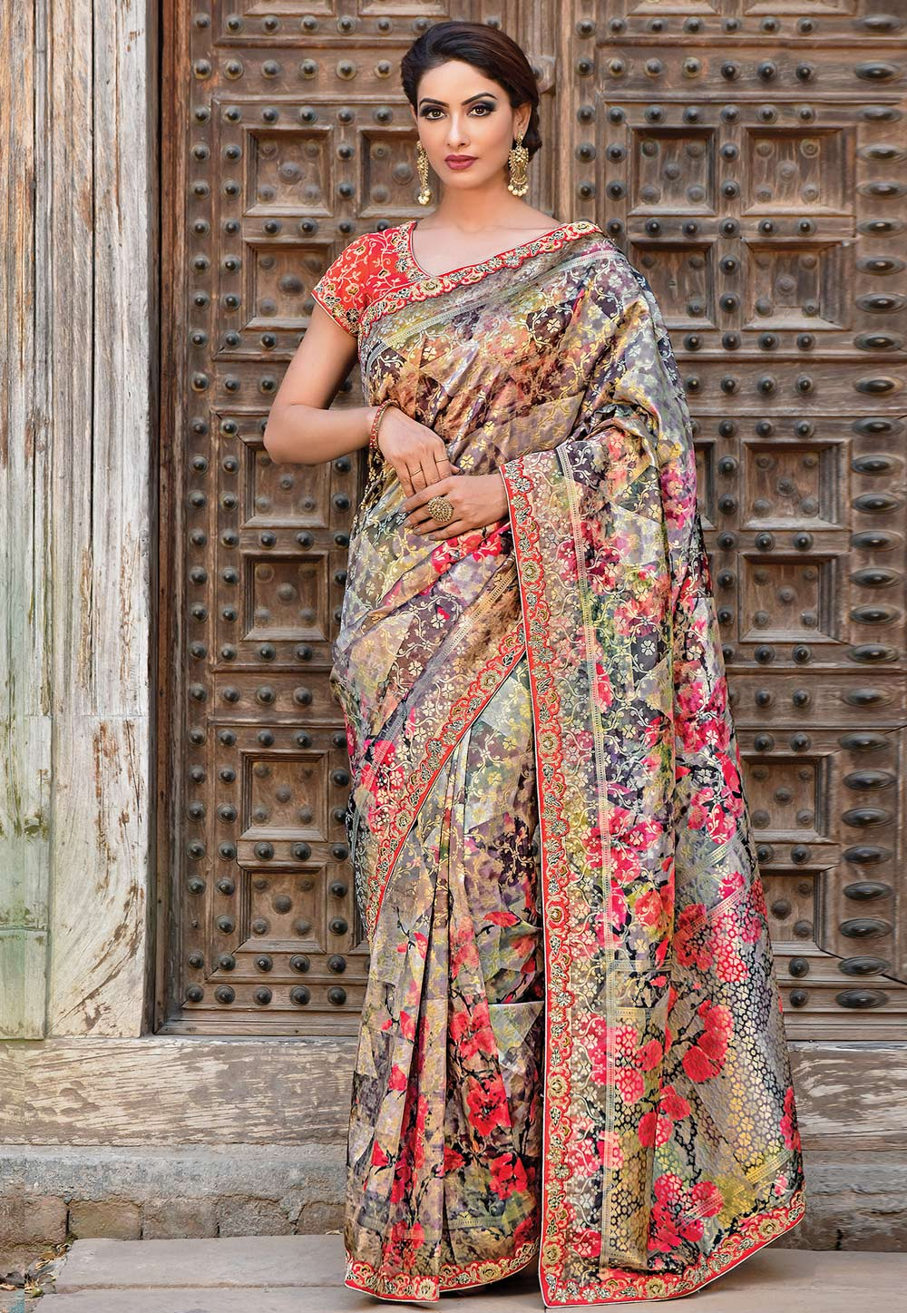 Grey Silk Festival Wear Saree 192076