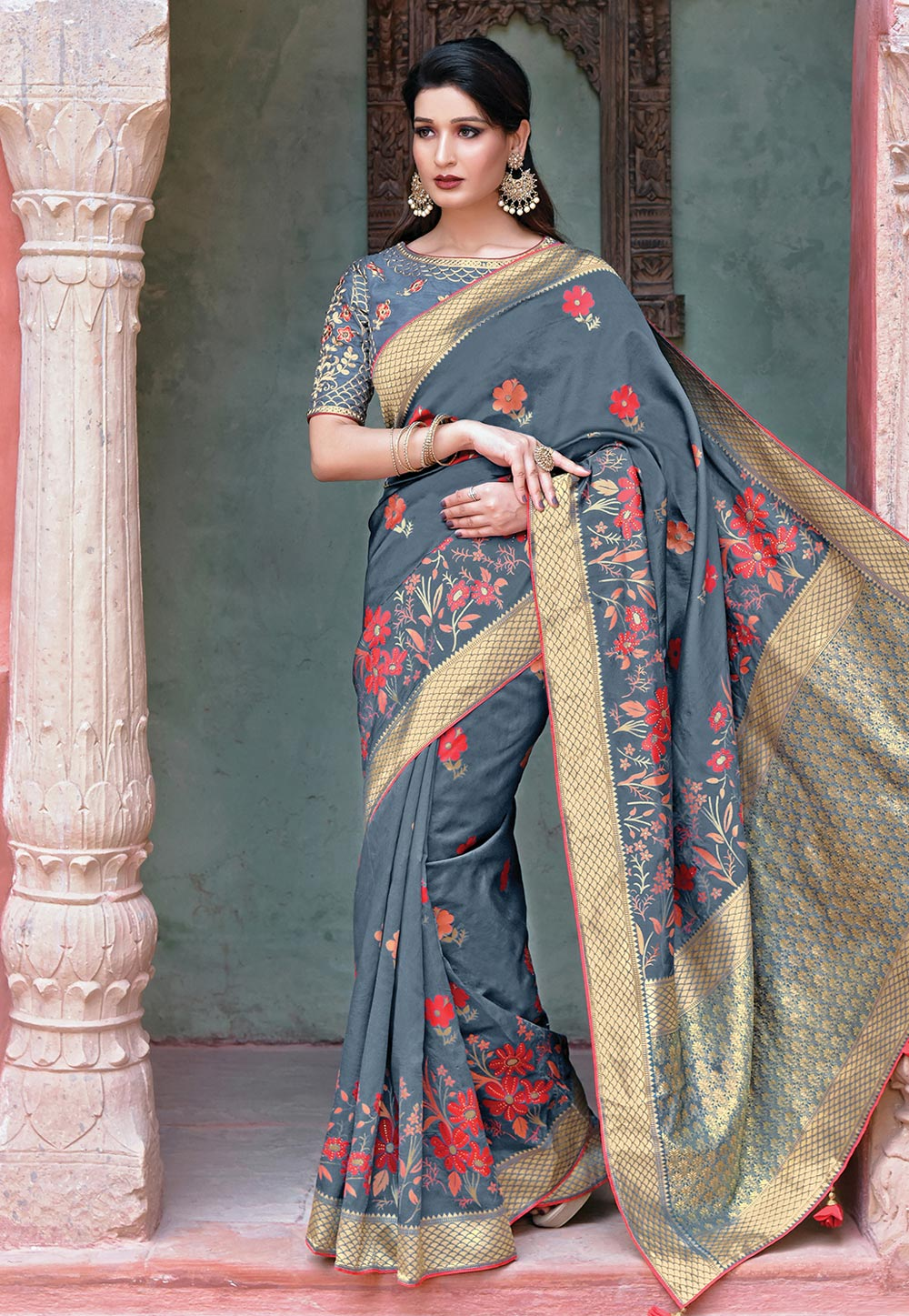 Grey Silk Saree With Blouse 192079
