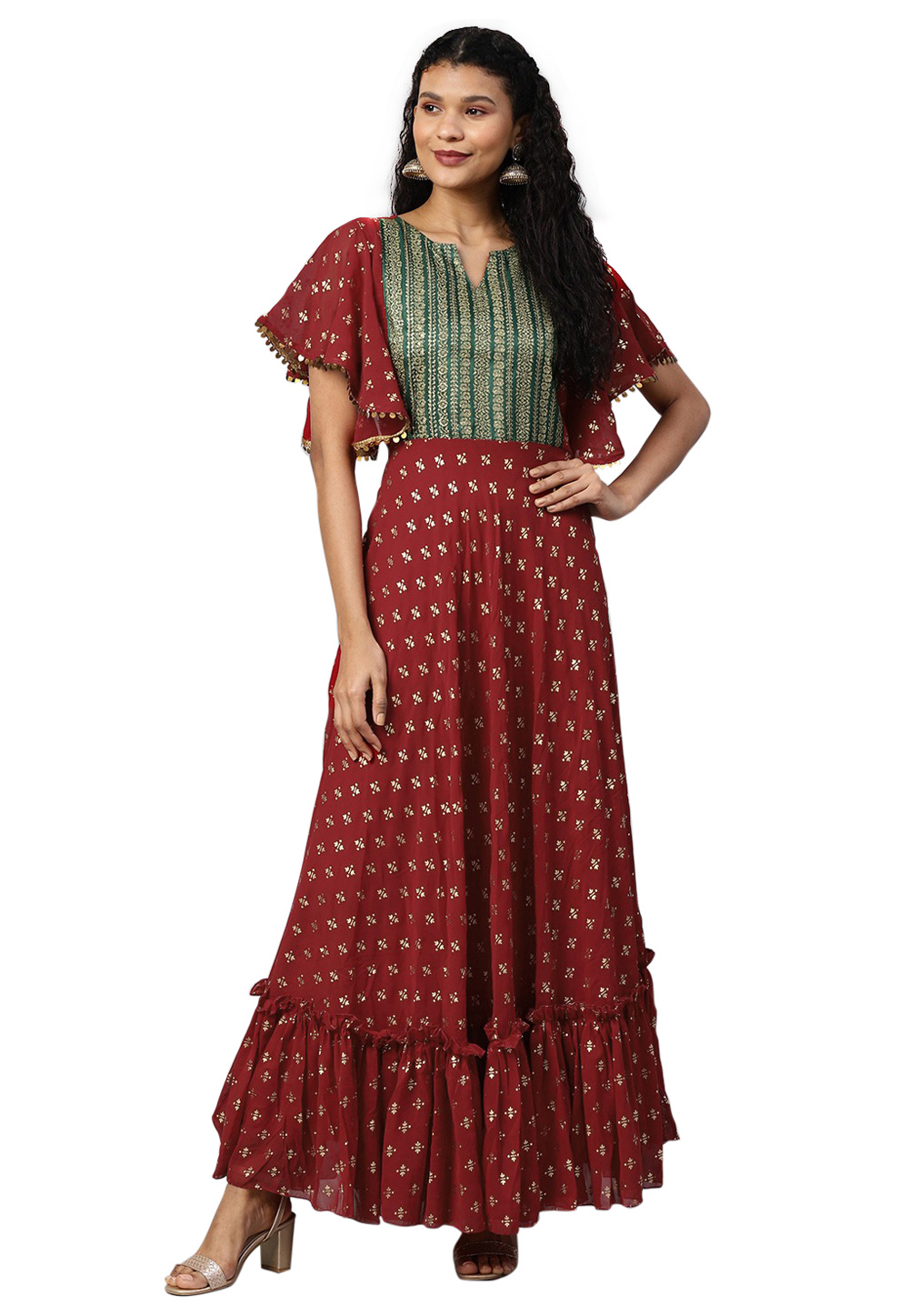Wine Georgette Readymade Gown 214295