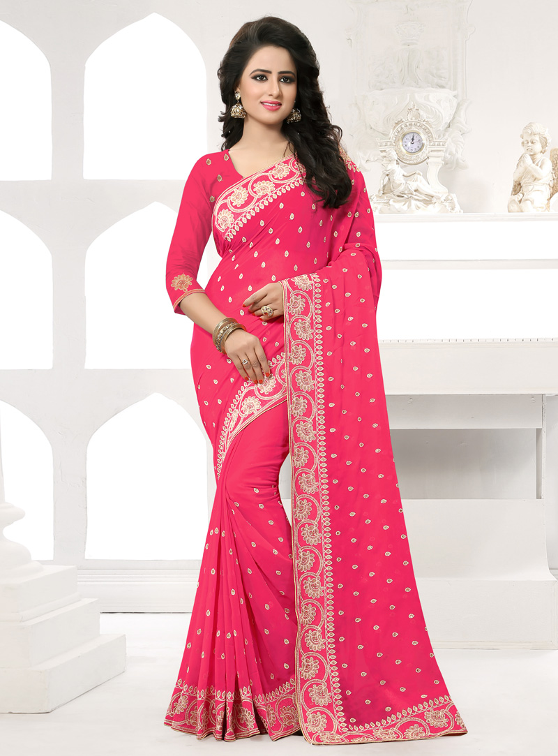 Pink Georgette Saree With Blouse 138552