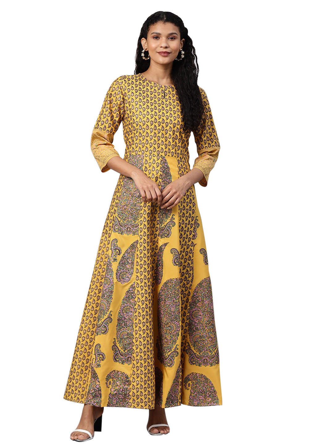 Yellow Polyester Readymade Gown 214298