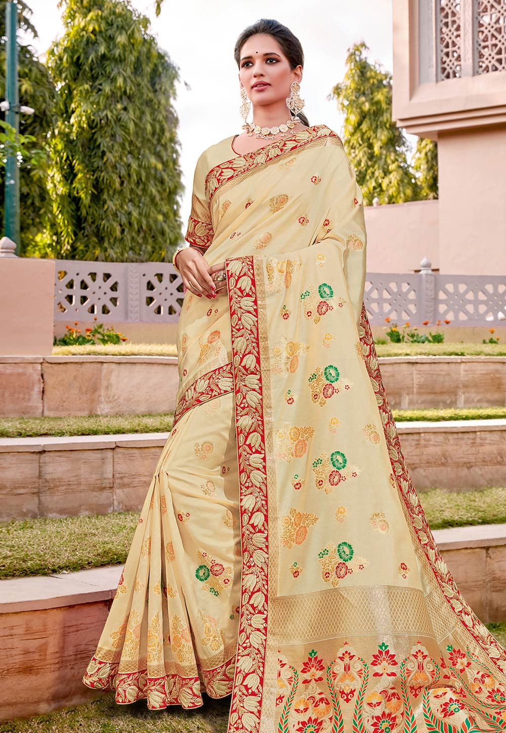 Cream Silk Saree With Blouse 203192