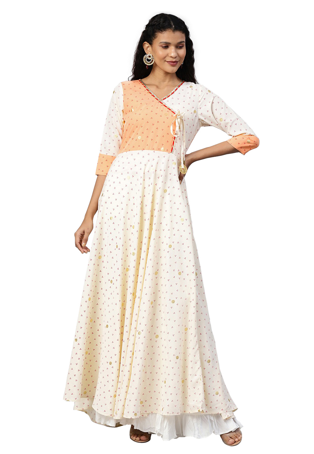 White Crepe Readymade Gown 214300