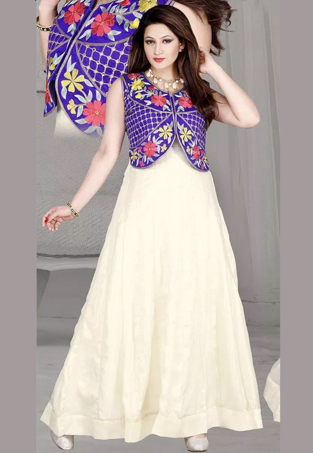 Off White Georgette Party Wear Gown 44231