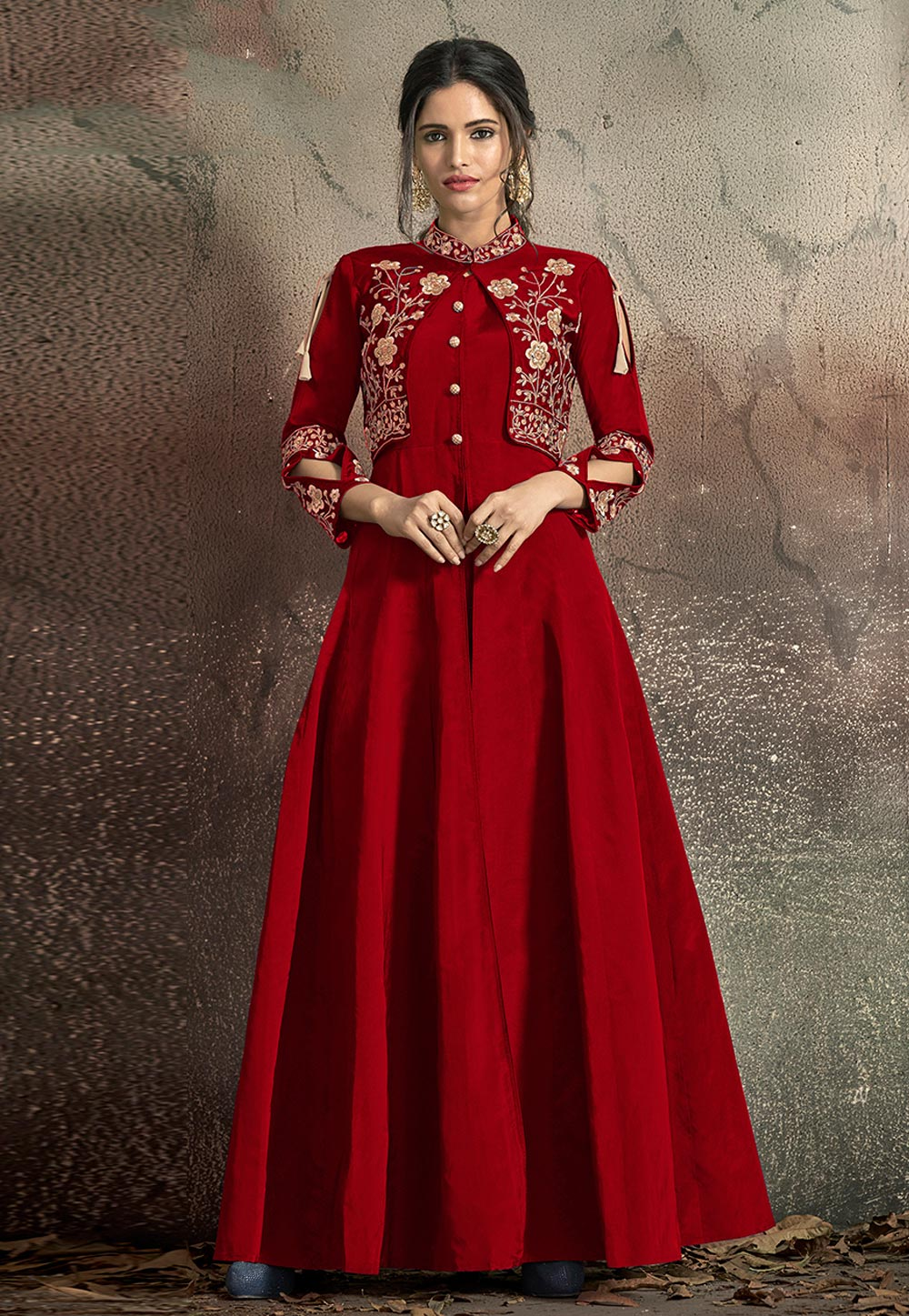 Red Taffeta Readymade Gown 184086