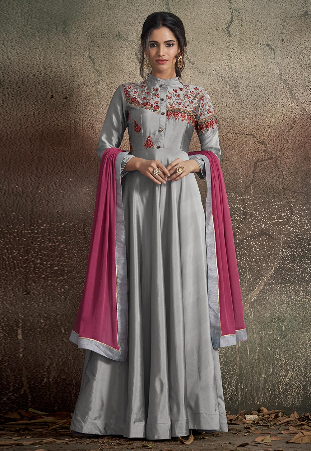 Grey Taffeta Embroidered Readymade Long Anarkali Suit 165694