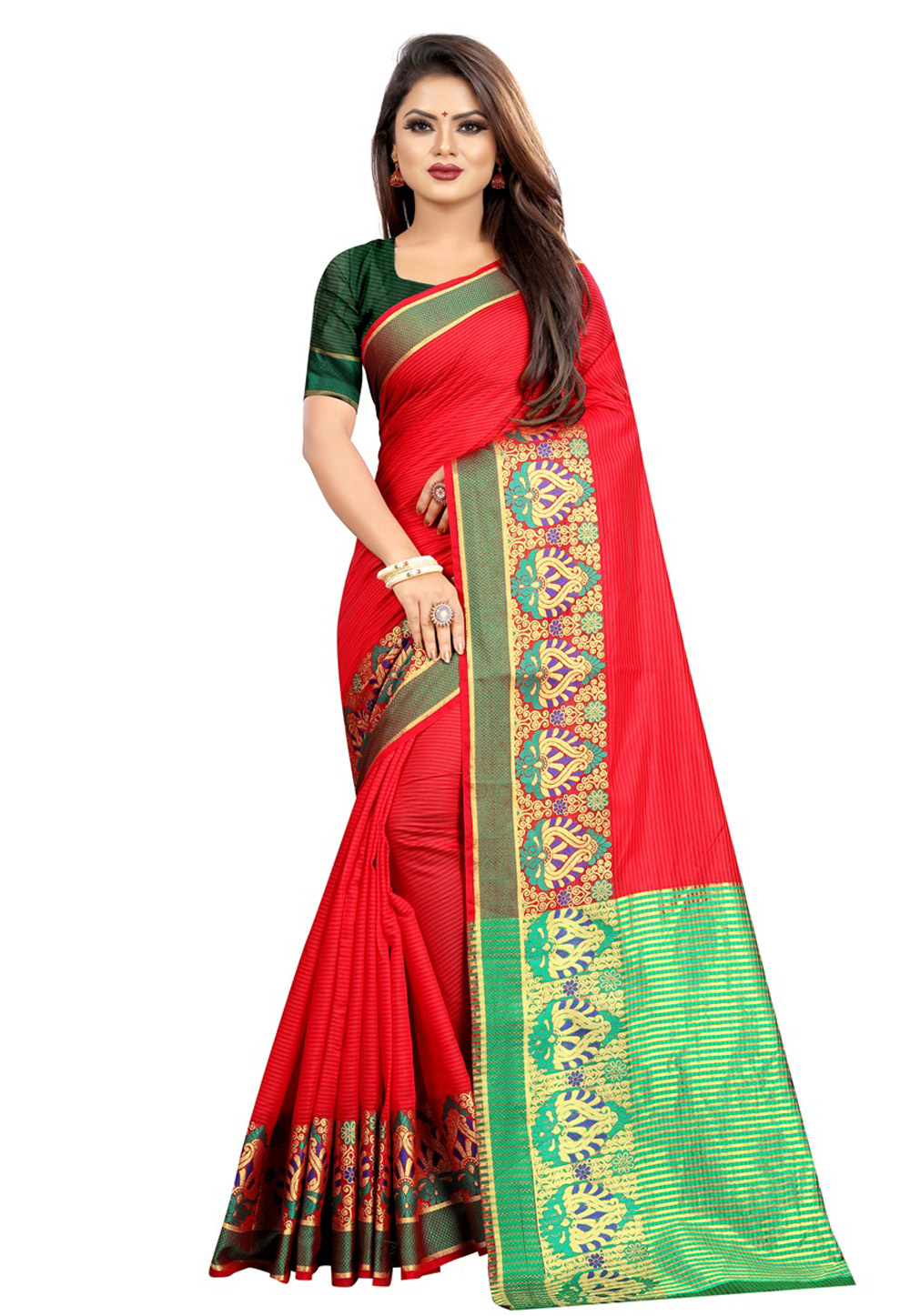 Red Cotton Saree With Blouse 195623