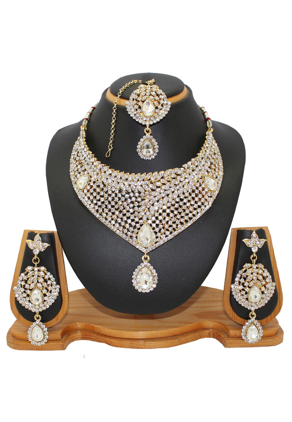 White Zinc Austrian Diamonds Necklace With Earrings and Maang Tikka 64344