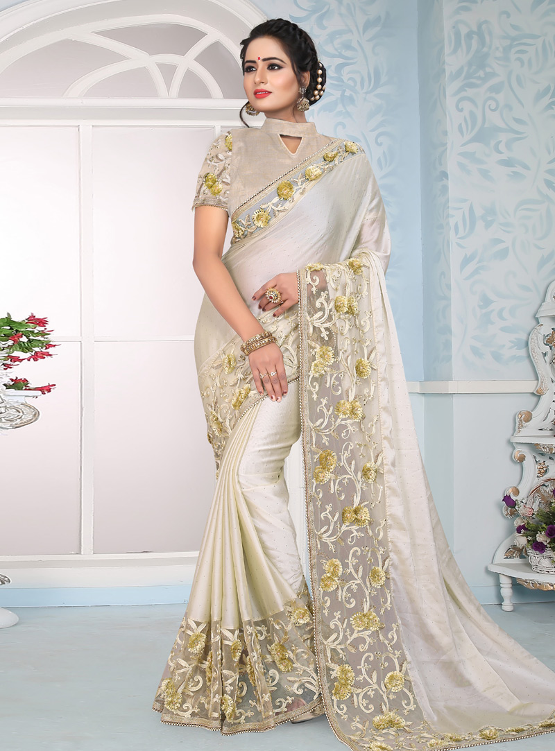 Off White Silk Saree With Blouse 153683