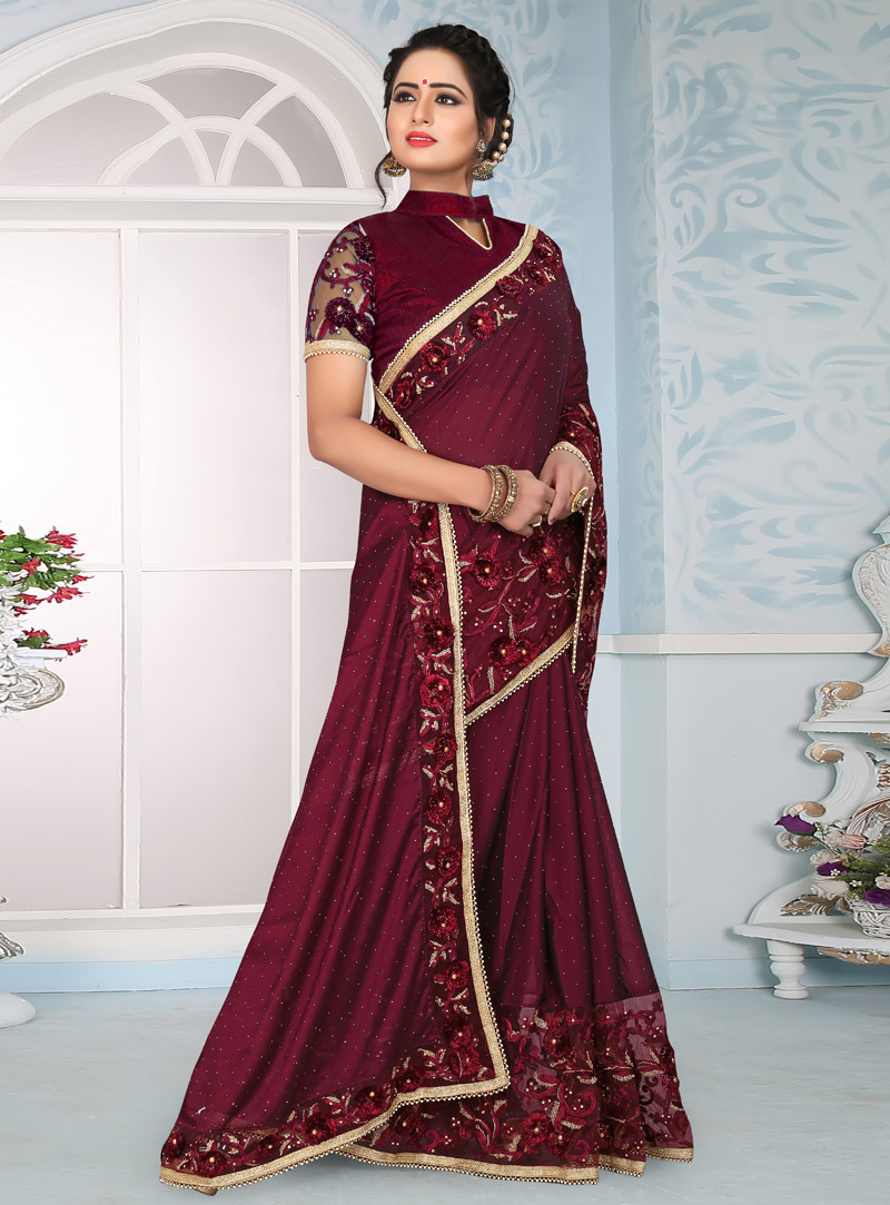 Wine Silk Festival Wear Saree 153684