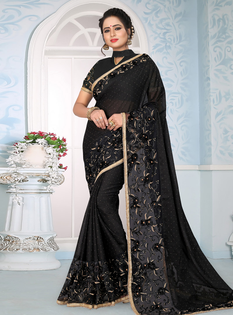 Black Silk Saree With Embroidered Blouse 153686
