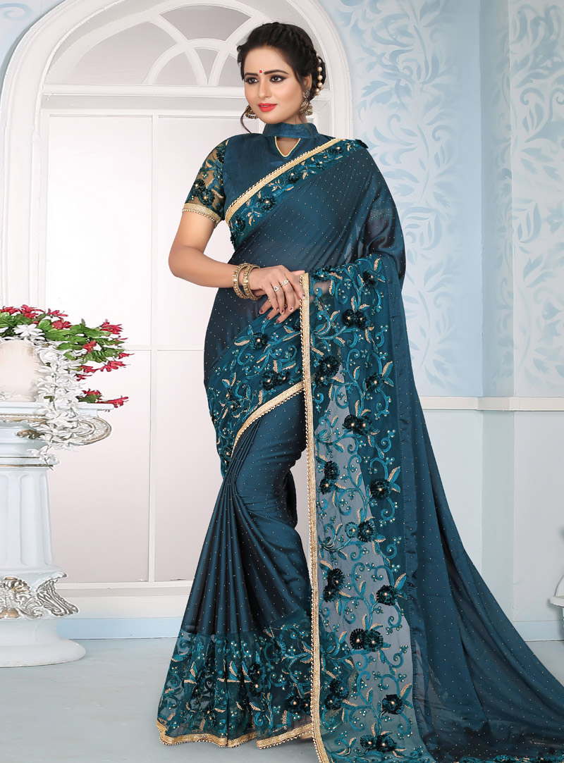 Blue Silk Saree With Embroidered Blouse 153687
