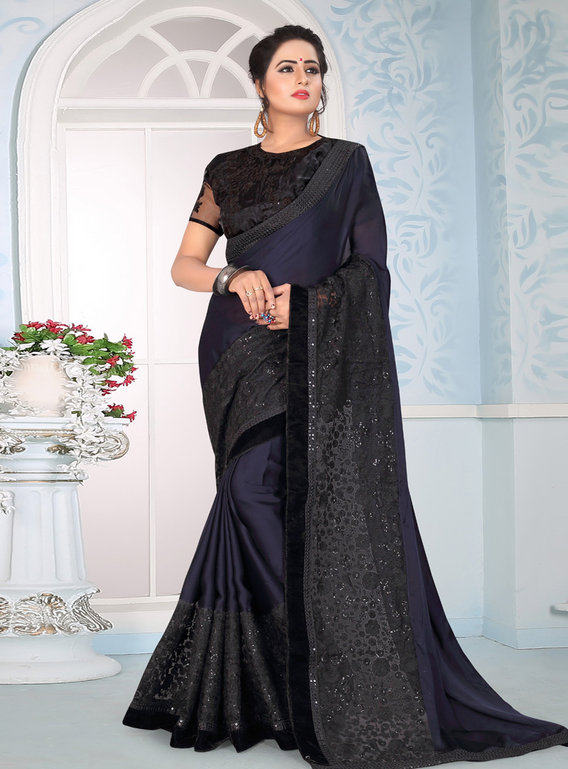 Navy Blue Silk Festival Wear Saree 153691