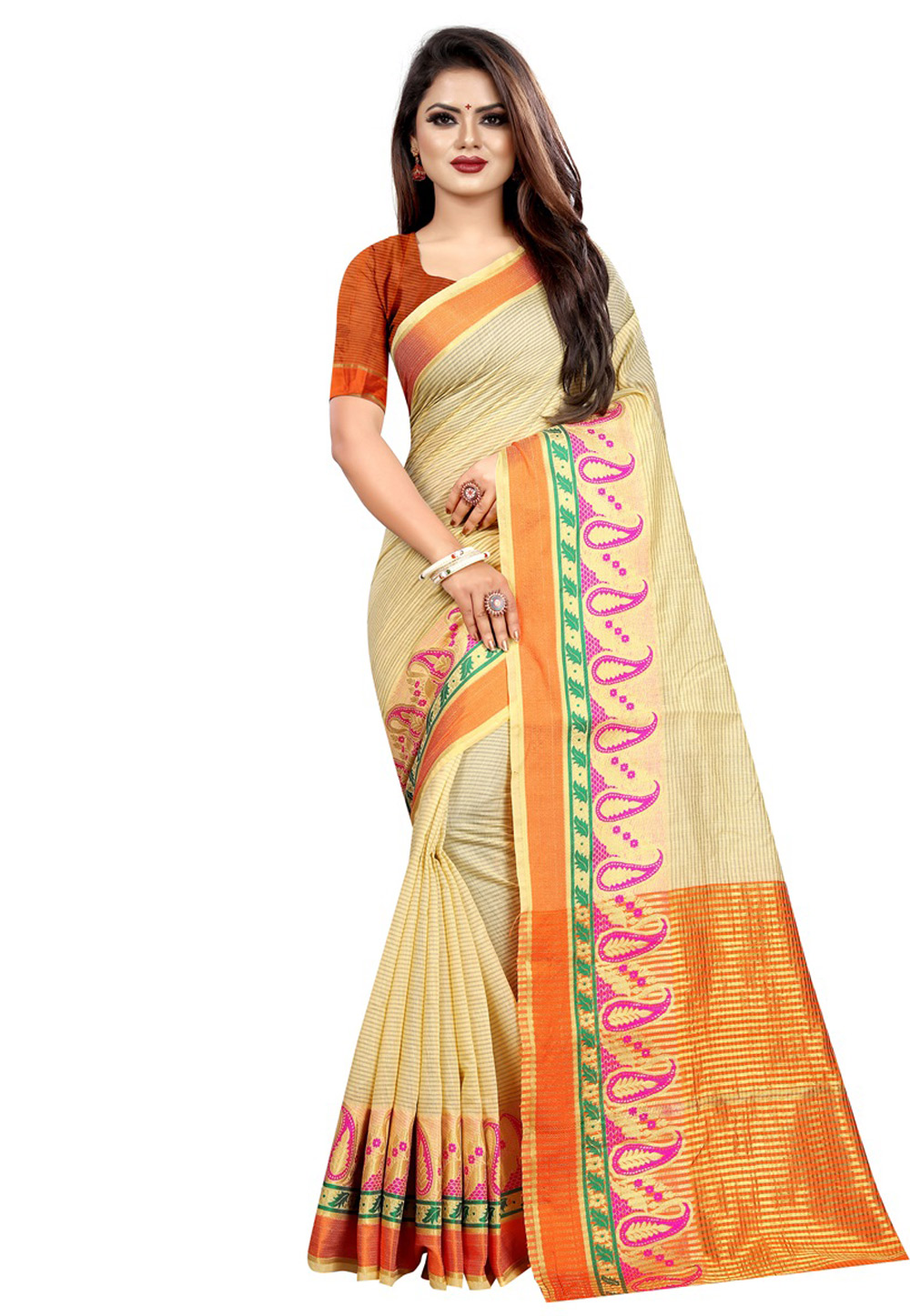 Cream Cotton Saree With Blouse 195627