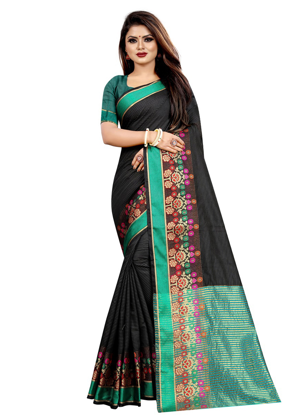 Black Cotton Saree With Blouse 195629