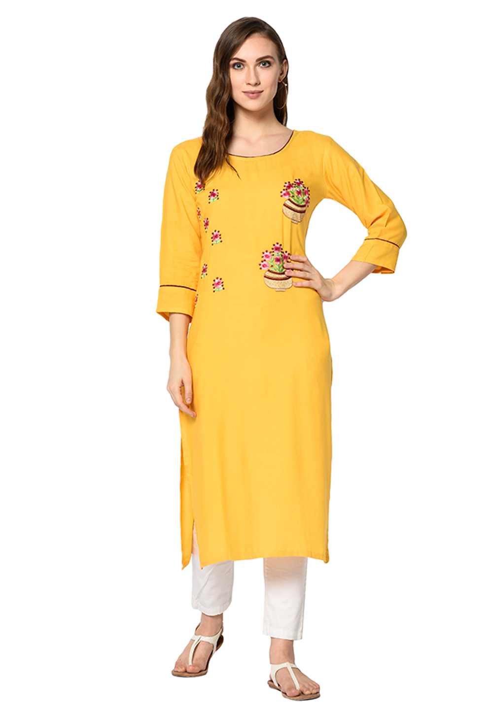 Yellow Cotton Silk Readymade Kurti 208123
