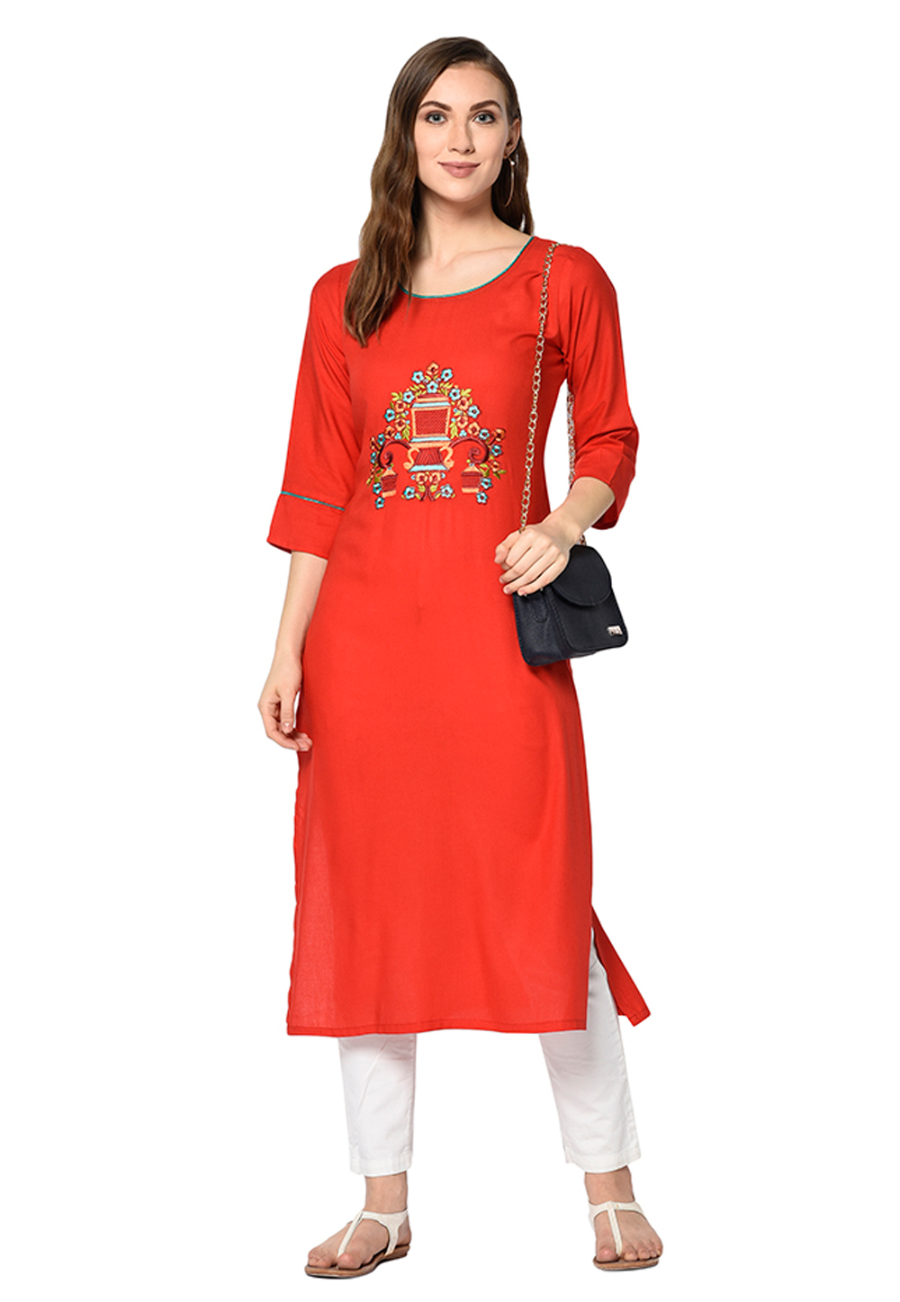 Red Cotton Silk Readymade Tunic 208124