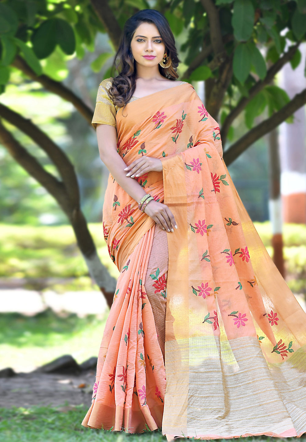 Peach Banarasi Festival Wear Saree 154797