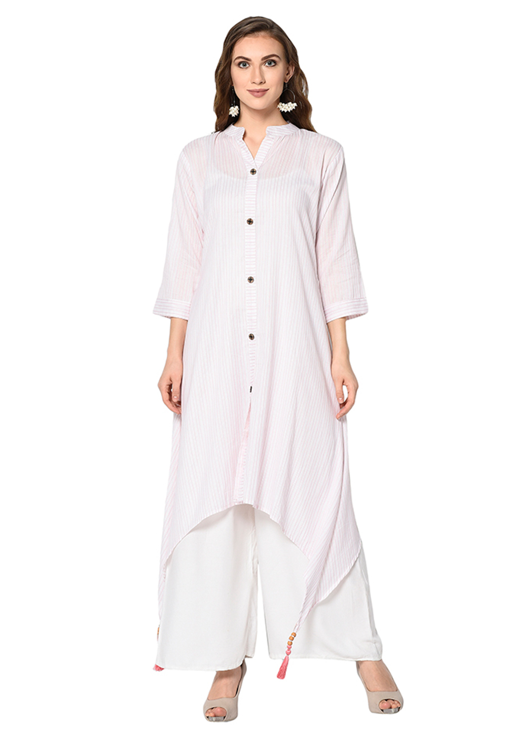 White Cotton Silk Readymade Asymmetrical Kurti 208125