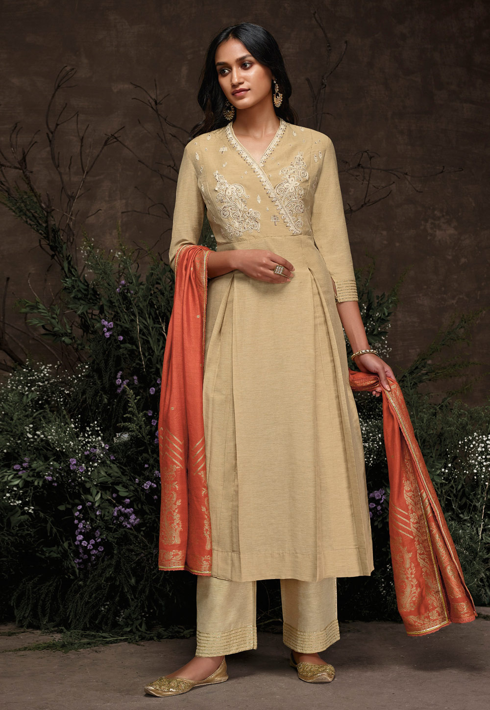 Beige Silk Readymade Palazzo Suit 202185