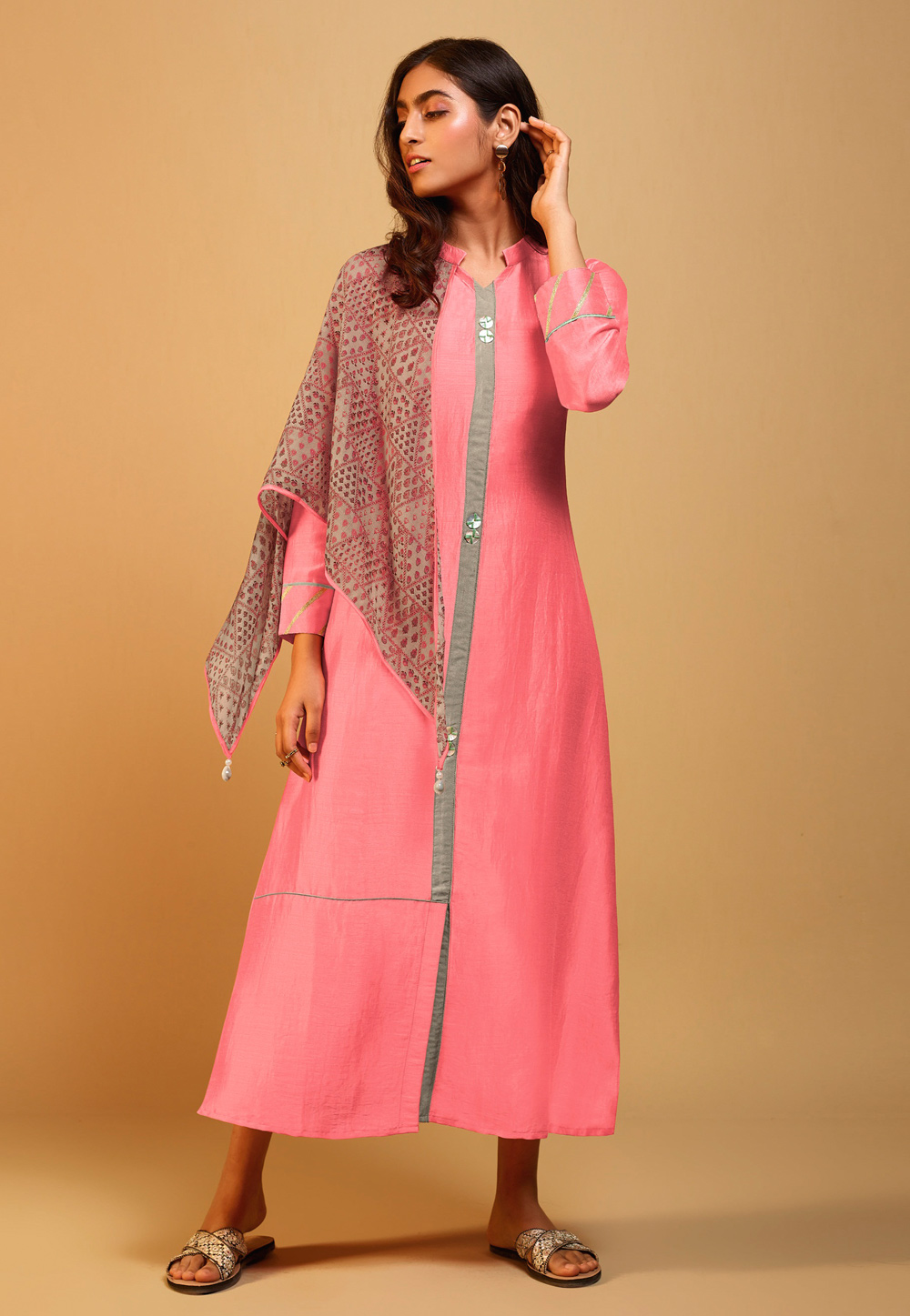 Pink Silk Readymade Tunic With Scarf 202141