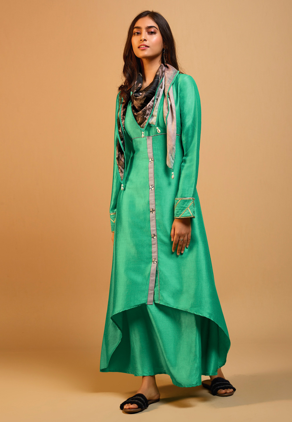 Green Silk Readymade Tunic With Scarf 202143
