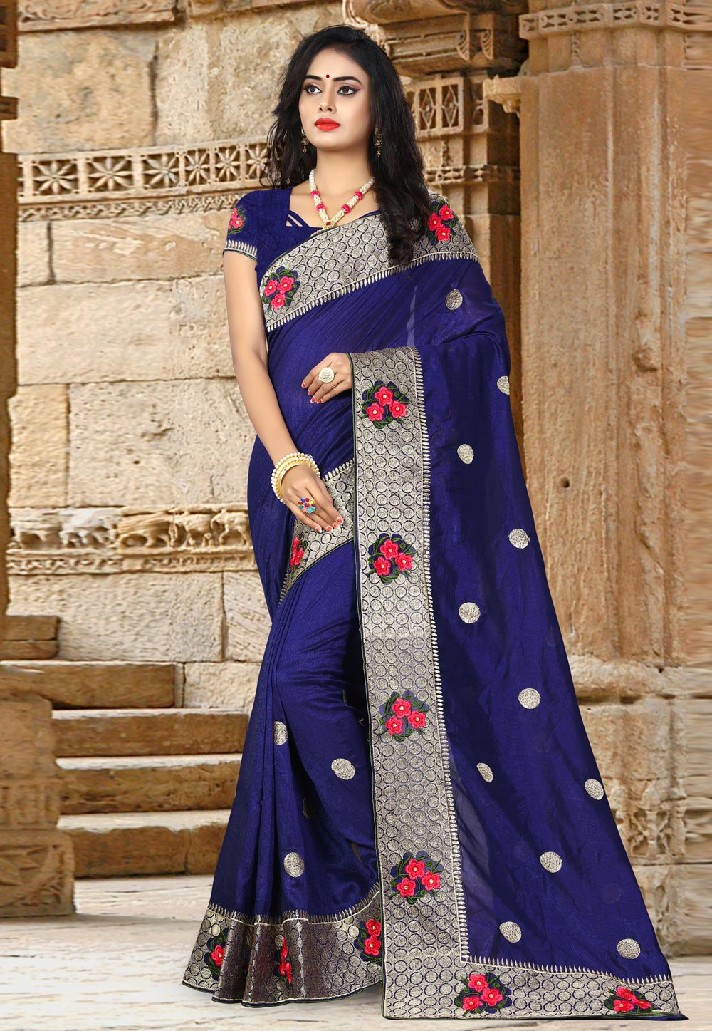 Blue Silk Saree With Blouse 156668