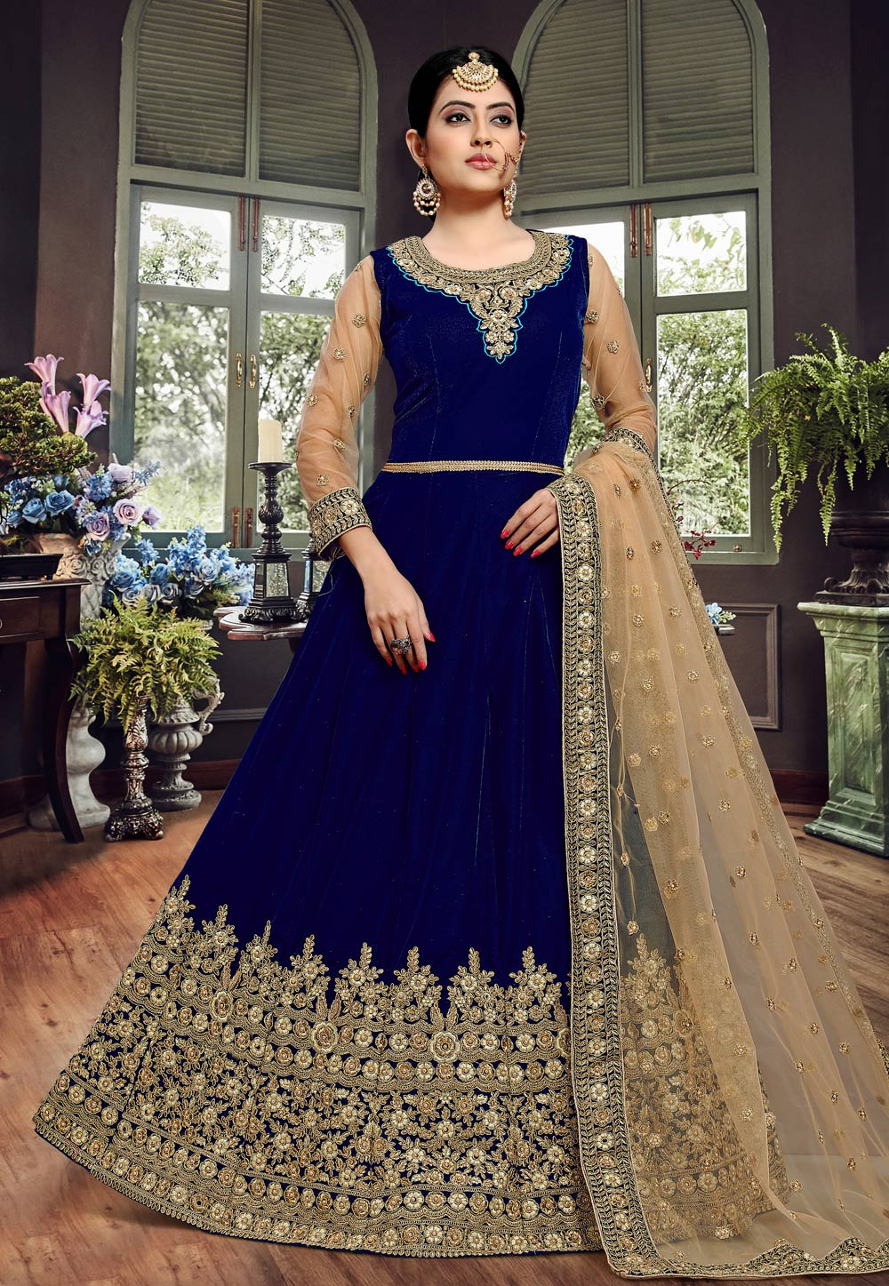 Blue Velvet Embroidered Floor Length Anarkali Suit 190944
