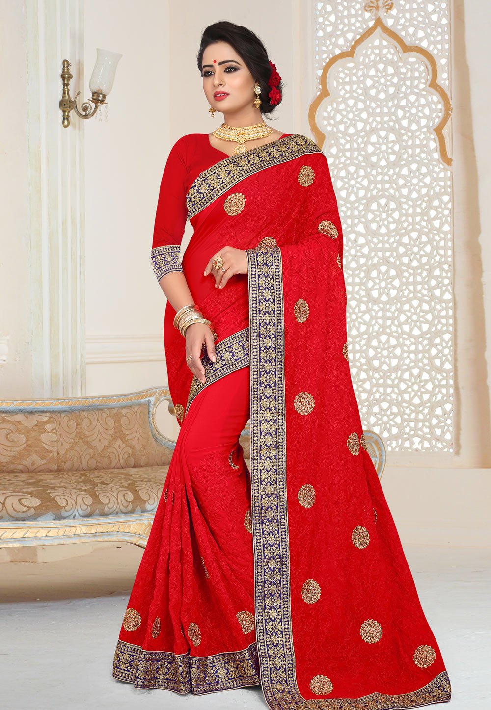 Red Georgette Saree With Blouse 159733