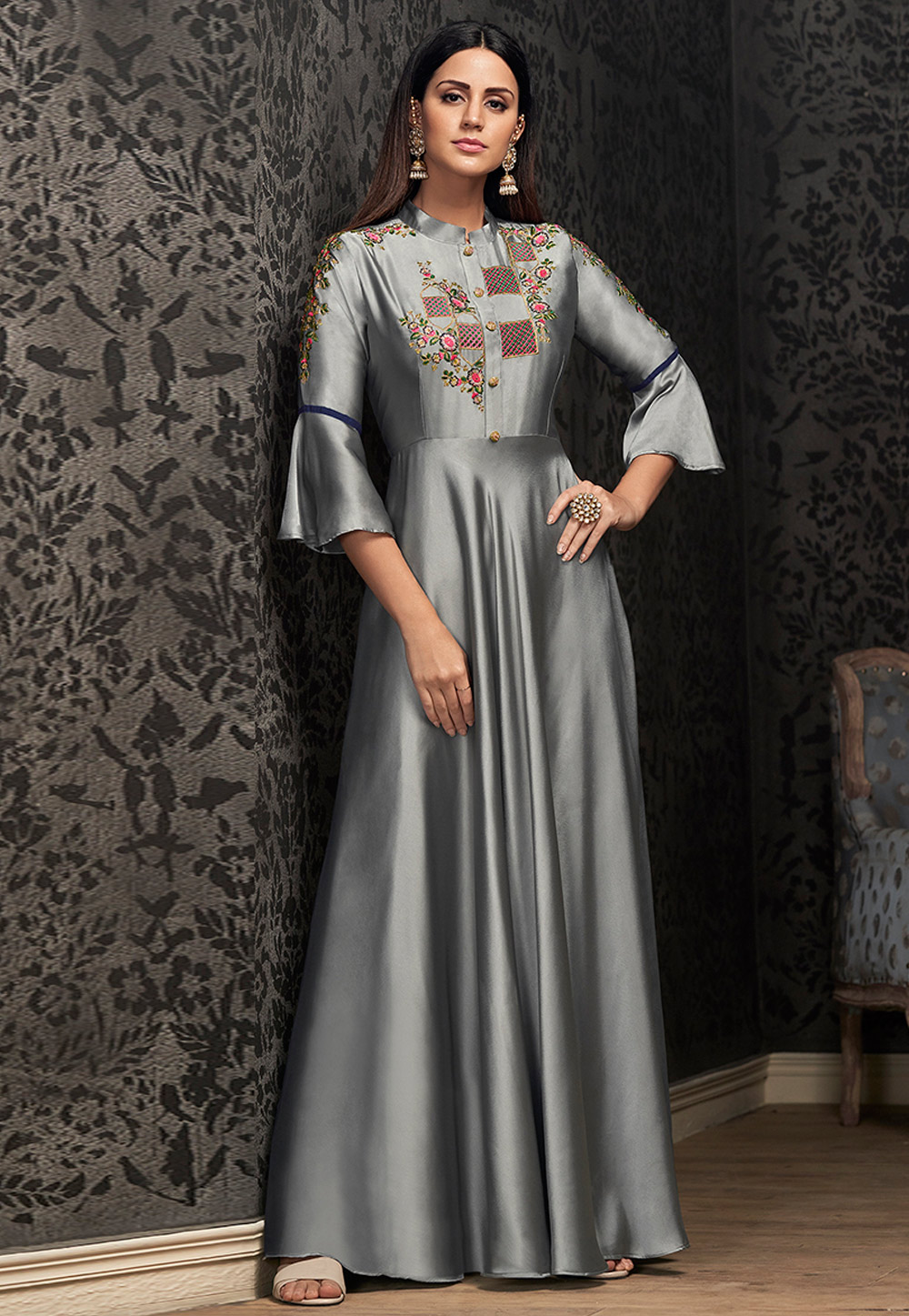Grey Georgette Readymade Party Wear Gown 169523