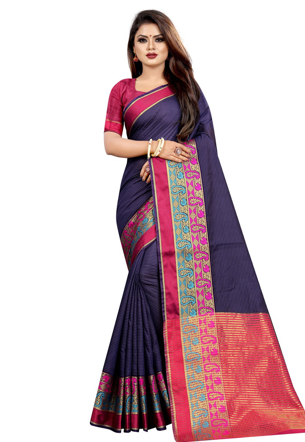 Navy Blue Cotton Saree With Blouse 195631