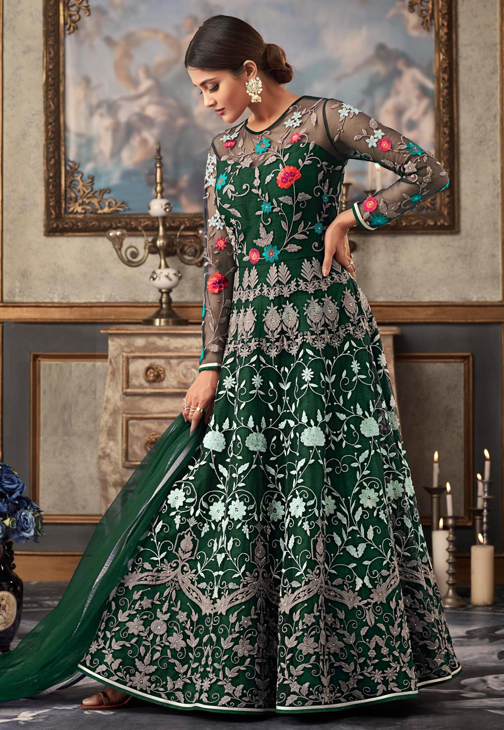 Green Net Ankle Length Anarkali Suit 168124