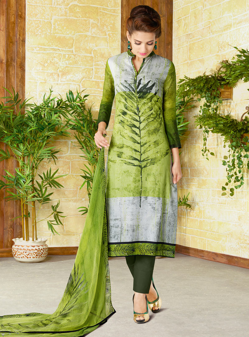 Green Cotton Straight Cut Pant Style Suit 98984