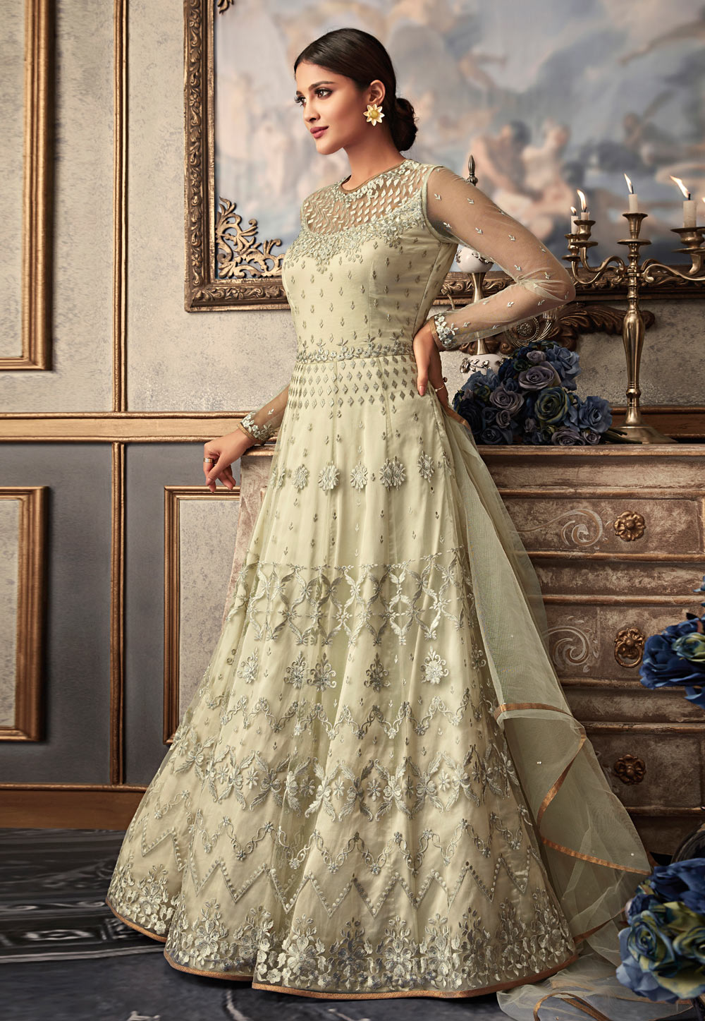 Beige Net Long Anarkali Suit 161953