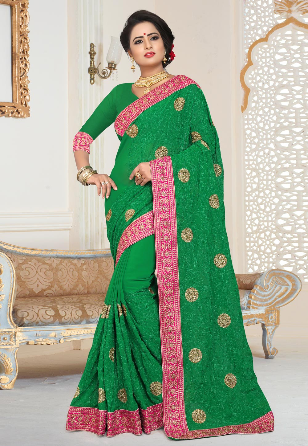 Green Georgette Saree With Blouse 159737