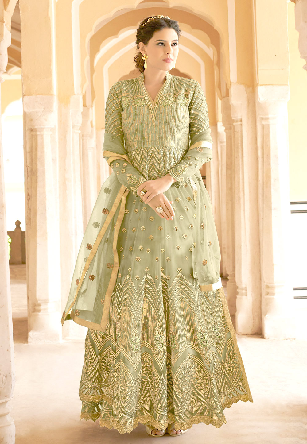 Light Green Net Embroidered Abaya Style Anarkali Suit 166198