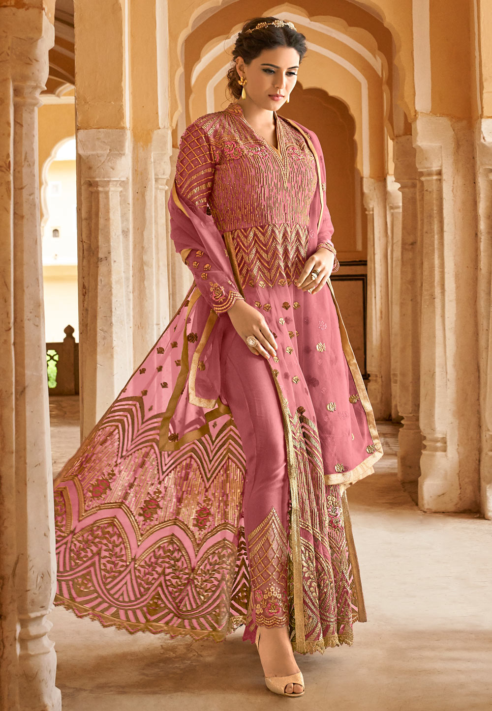 Pink Net Embroidered Pant Style Suit 166201