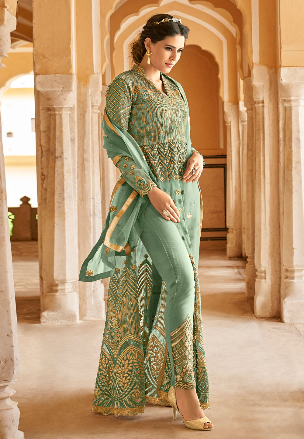 Sea Green Net Embroidered Pant Style Suit 166205