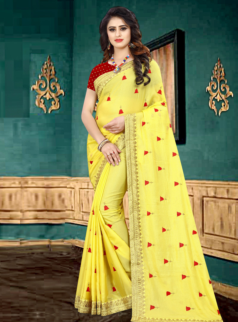 Yellow Georgette Saree With Blouse 153666