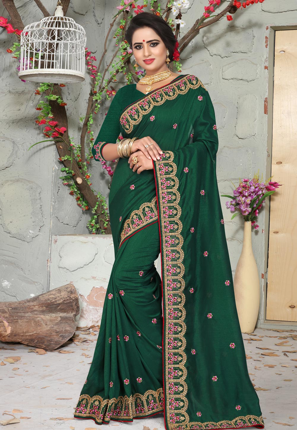 Green Silk Festival Wear Saree 160849