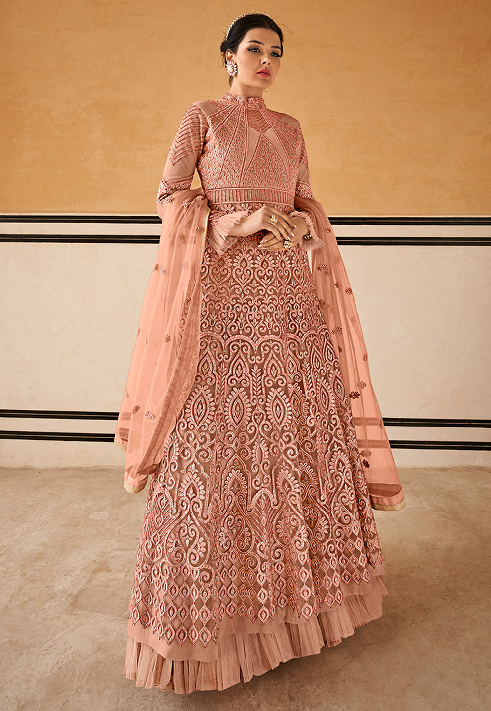 Peach Net Embroidered Abaya Style Anarkali Suit 177350
